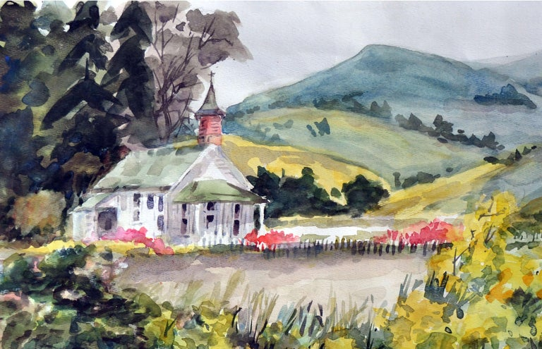 A California Gold Country Church  - Impressionist Painting by Gladys Louise Bowman Fies