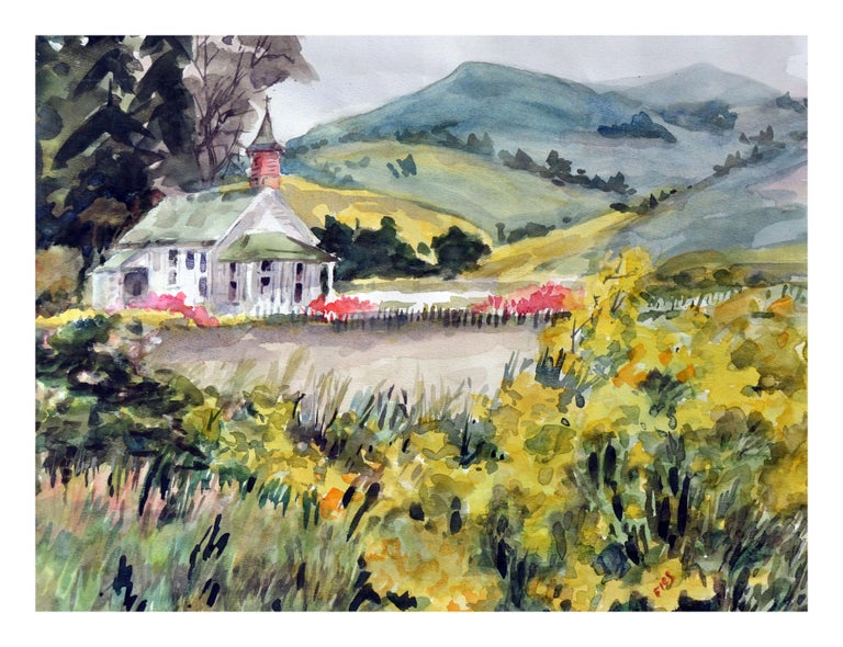 Gladys Louise Bowman Fies Landscape Painting - A California Gold Country Church