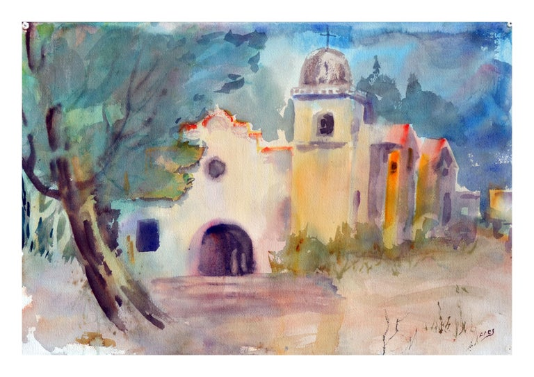 The Coastal Mission - Impressionist Painting by Gladys Louise Bowman Fies