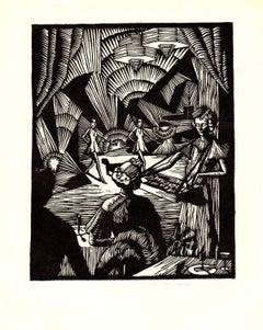 1938 Gladys M. Wilkins 'Cigarettes?' Modernism Black & White Woodblock