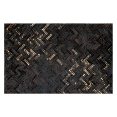 Glam Metallic Herringbone Estrella Black Cowhide Rug by Art Hide