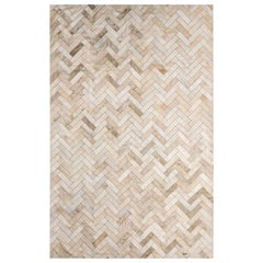 Glam Metallic Herringbone Estrella Cream Cowhide Rug by Art Hide