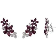 Glamorous 18 Karat White Gold, Diamond and Ruby Earrings