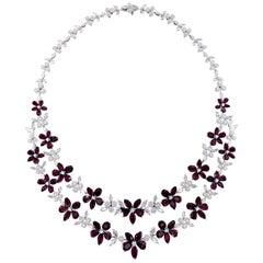 Glamorous 18 Karat White Gold, Diamond and Ruby Necklace
