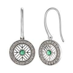 Glamorous 18 Karat White Gold, Emerald, and Diamond Earrings