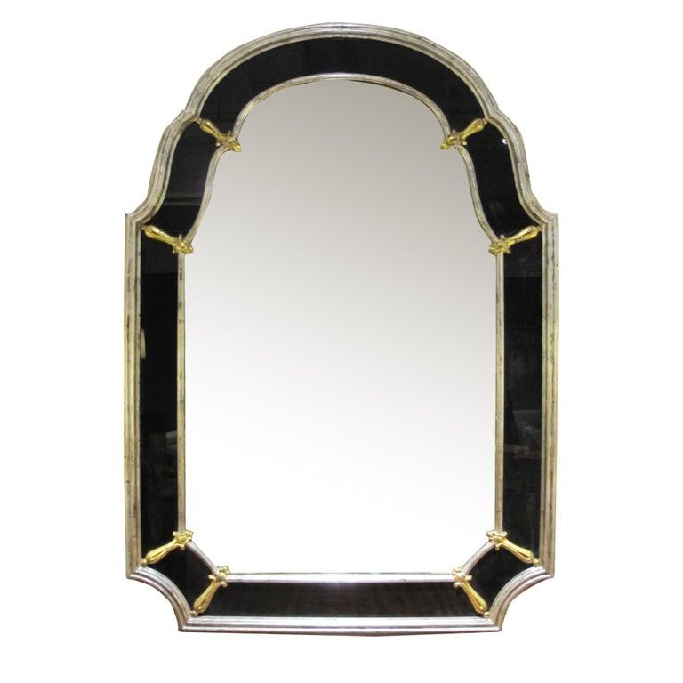 Mid-20th Century Glamorous American Hollywood Regency Silver Giltwood Mirror W Black Glass Border