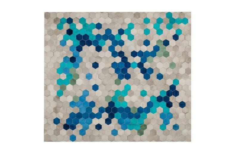 Pakistani Gray blue & green Customizable Angulo Cowhide Area Floor Rug Small For Sale