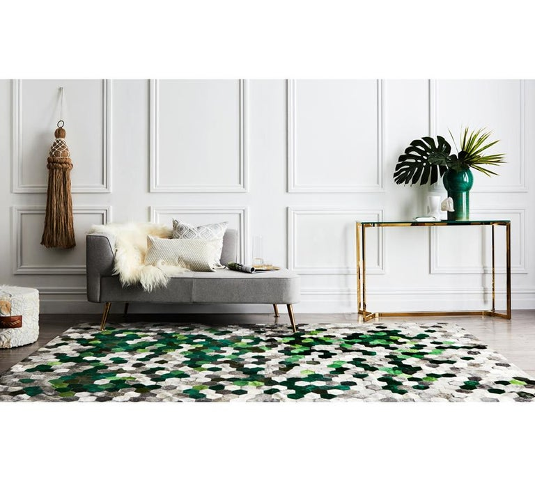 Art Deco Green and gray Customizable Angulo Cowhide Area Floor Rug For Sale