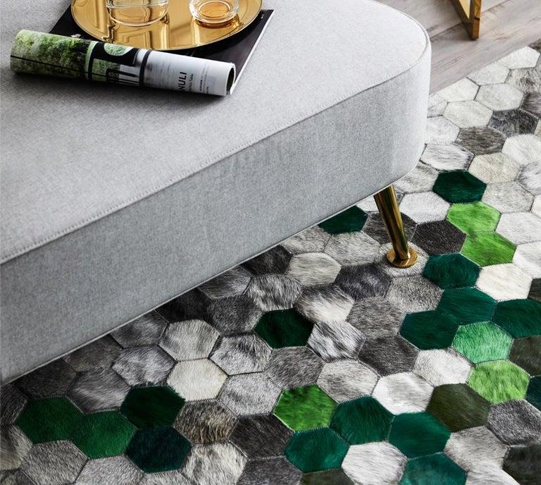 Pakistani Green and gray Customizable Angulo Cowhide Area Floor Rug For Sale