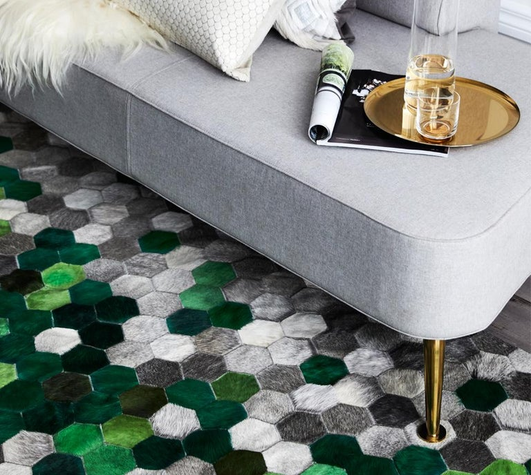 Machine-Made Green and gray Customizable Angulo Cowhide Area Floor Rug For Sale