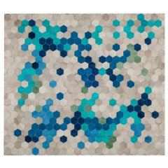 Glamorous Art Deco Angulo Rectangle Blue Cowhide Area Floor Rug by Art Hide