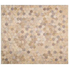 Glamorous Art Deco Angulo Rectangle Cream Cowhide Area Floor Rug by Art Hide