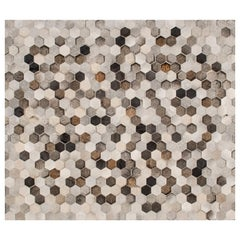 Glamorous Art Deco Angulo Rectangle Grey Cowhide Area Floor Rug by Art Hide