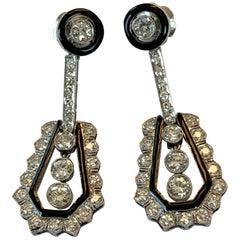 Glamorous Art Déco Enamel and Diamond Pendant Earrings in Platinum