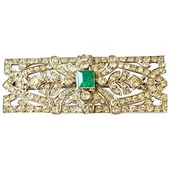 Glamorous Art Deco Platinum Emerald and Diamond Brooch