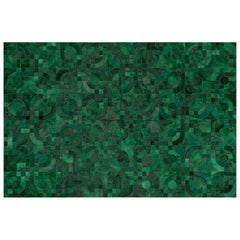 Glamorous Art Deco Vs 1970s Inspired Block Optico Forrest Green Cowhide Rug