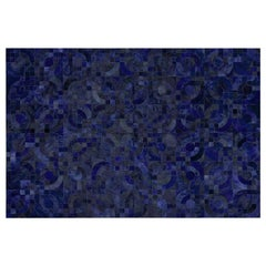 Glamorous Art Deco Vs 1970s Inspired Block Optico Midnight Blue Cowhide Rug