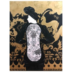 Glamorous Black and Gold Large Painting of Woman in Lacey Dress