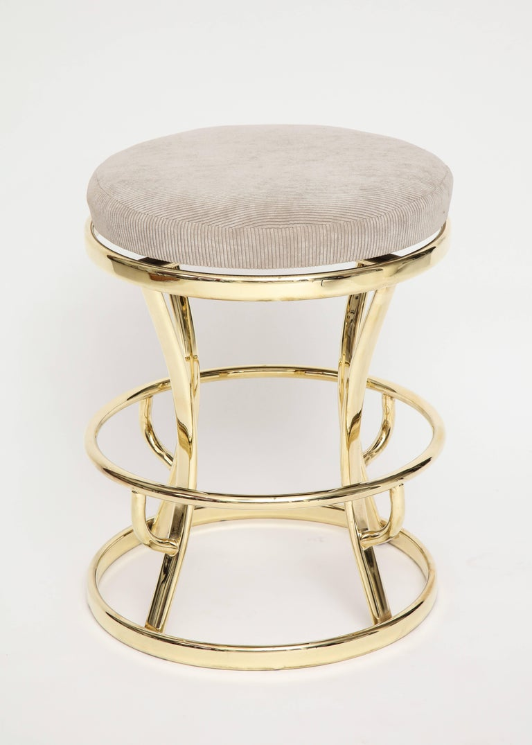 Brass and grey barstools, midcentury France, 1970s  Beautiful restored brass barstools with grey corduroy top that swivels. Adds Glamour to any room. Six total.