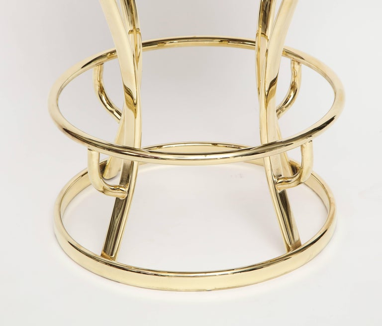 Post-Modern Glamorous Brass and Grey Barstools, Midcentury France, 1970s For Sale