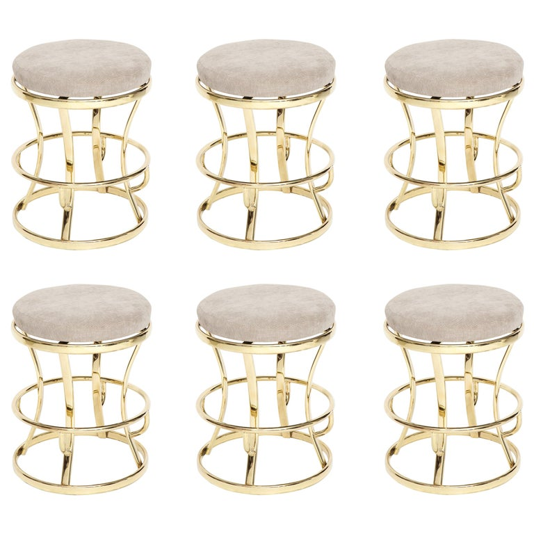Glamorous Brass and Grey Barstools, Midcentury France, 1970s For Sale