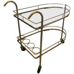 Glamorous Brass Mid-Century Modern Bar Cart