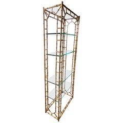 Glamorous Chinoiserie Style Faux Bamboo Gilt Iron Bookshelf Étagère