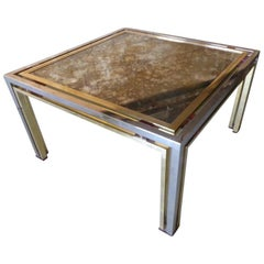Glamorous Chrome & Brass Cocktail Table with Distressed Mirror Top by Romeo Rega