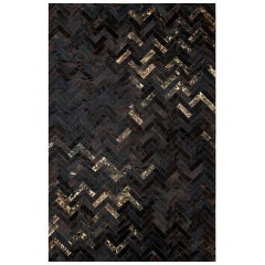 Black & gold Customizable Art Deco Estrella Cowhide Area Floor Rug Small