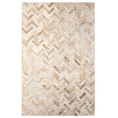 Cream  & gold Herringbone Customizable Medium Estrella Cowhide Area Floor Rug