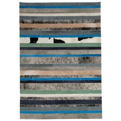 Blue caramel & white stripes Nueva Raya Customizable Cowhide Area Rug Small