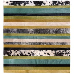 Green ochre black & white stripes Nueva Raya Customizable Cowhide Area Rug Small