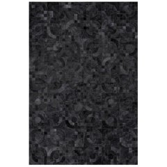Dark Gray Customizable 1970s inspired Optico Cowhide Area Floor Rug Small