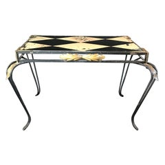Glamorous French Coffee Table or Side Table with Painted Glass Diamond Top