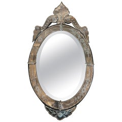 Glamorous French Venetian Glass Oval Beveled Mirror