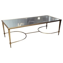 Glamorous Gilt Metal and Mirrored Glass Cocktail Table in the Manner of Ramsay