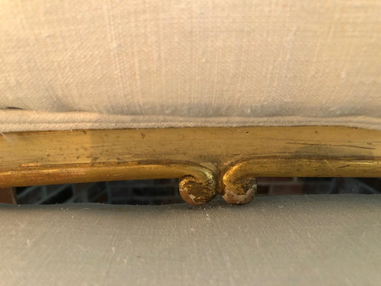 Glamorous Giltwood Fancy French Sofa with New White Linen Upholstery For Sale 5