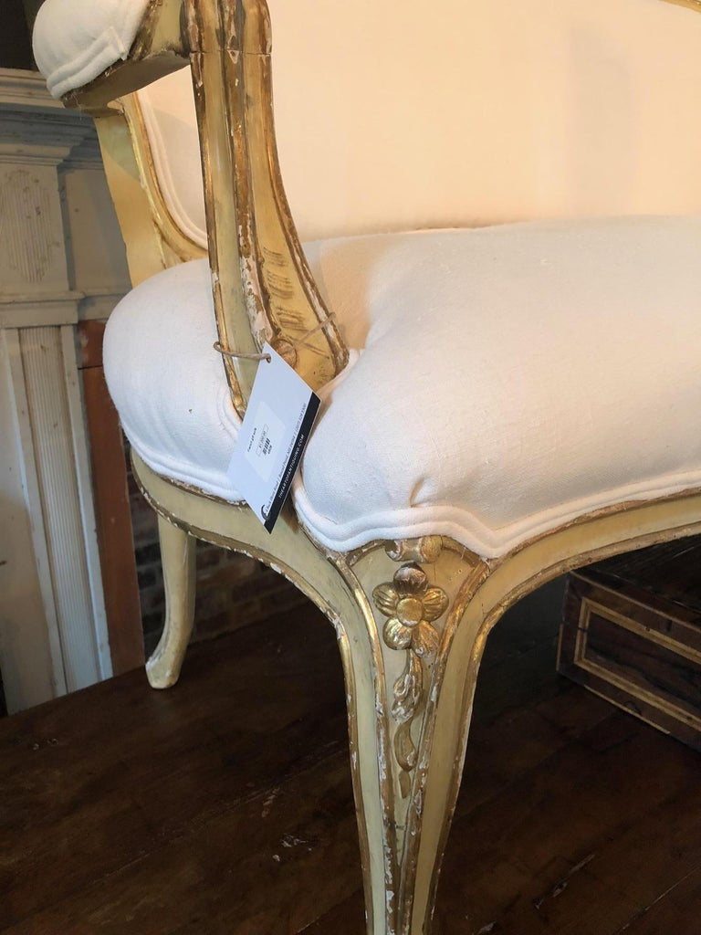 Glamorous Giltwood Fancy French Sofa with New White Linen Upholstery For Sale 1