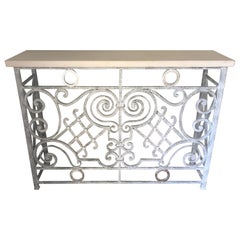 Glamorous Grey and Silver Painted Vintage Iron Console