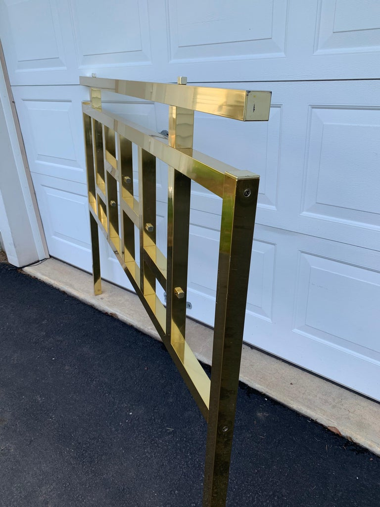 Hollywood Regency Queen Brass Fretwork Headboard, Mid-Century Modern Baughman For Sale 1
