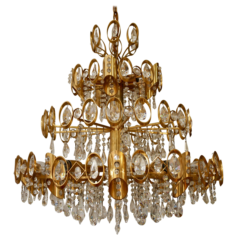 Glamorous Hollywood Regency Gilt Brass and Crystal Palwa Chandelier