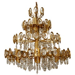 Glamorous Hollywood Regency Gilt Brass and Crystal Palwa Chandelier