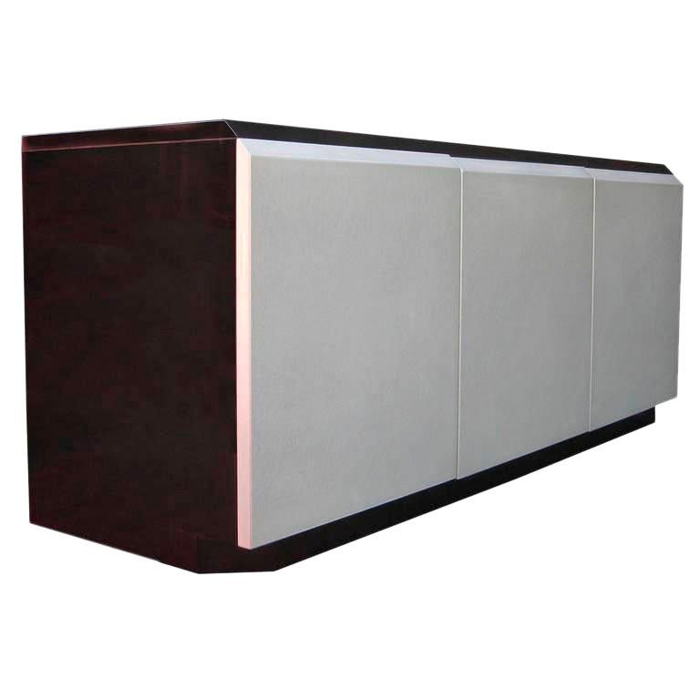 Glamorous Iridescent Lacquered Credenza by Roger Rougier For Sale