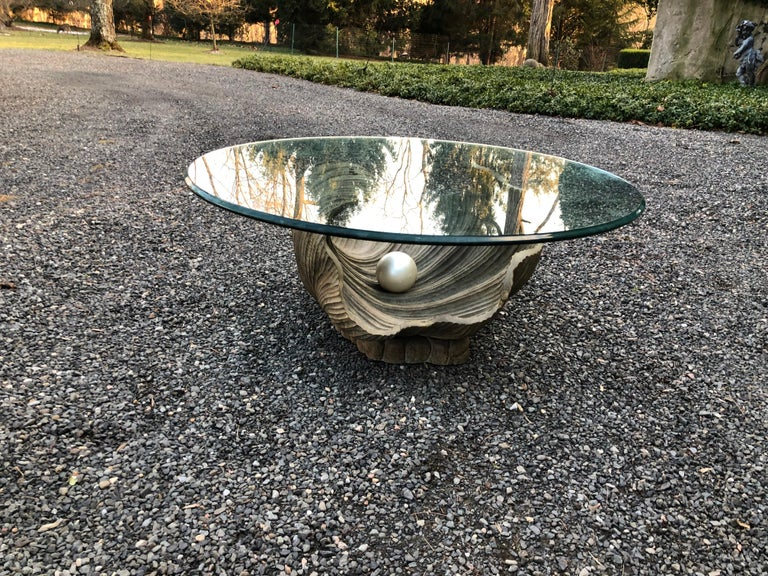 Organic Modern Glamorous Italian Carved Shell Base Coffee Table with Pearl and Round Glass Top