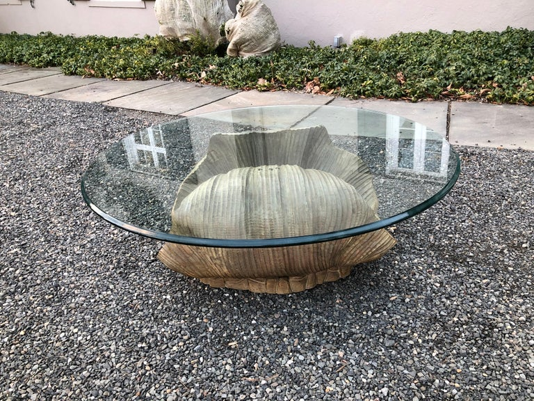 Glamorous Italian Carved Shell Base Coffee Table with Pearl and Round Glass Top 1