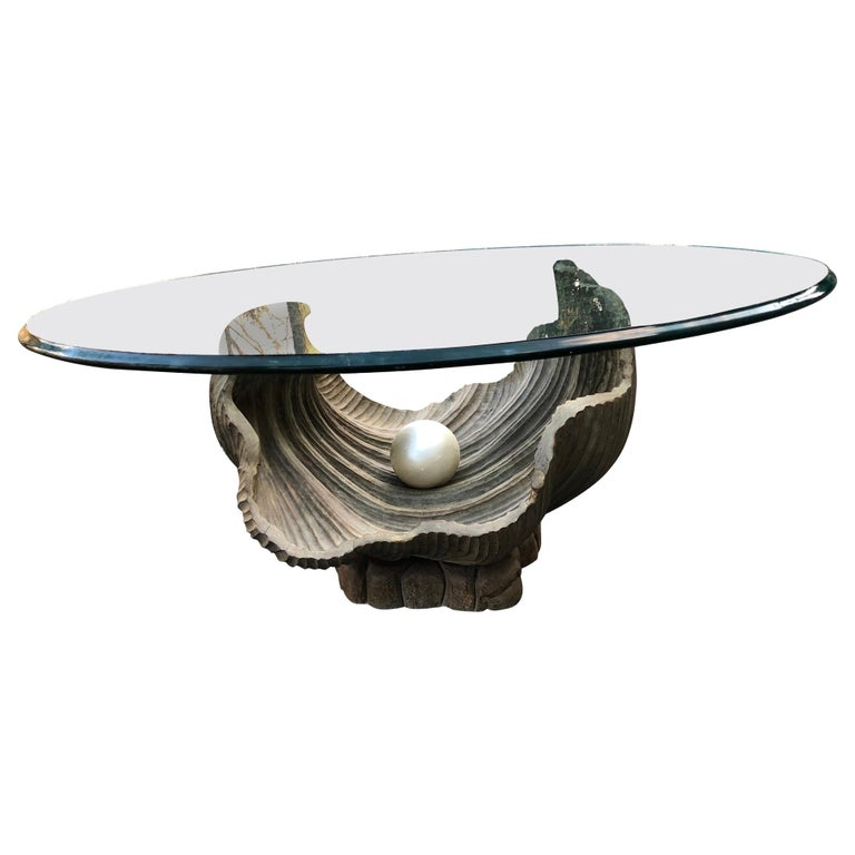 Glamorous Italian Carved Shell Base Coffee Table with Pearl and Round Glass Top