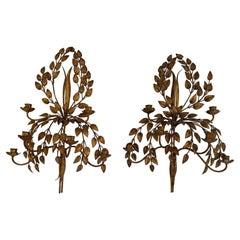 Glamorous Italian Gilded Iron & Tole Leaf Motife Candelabra Sconces
