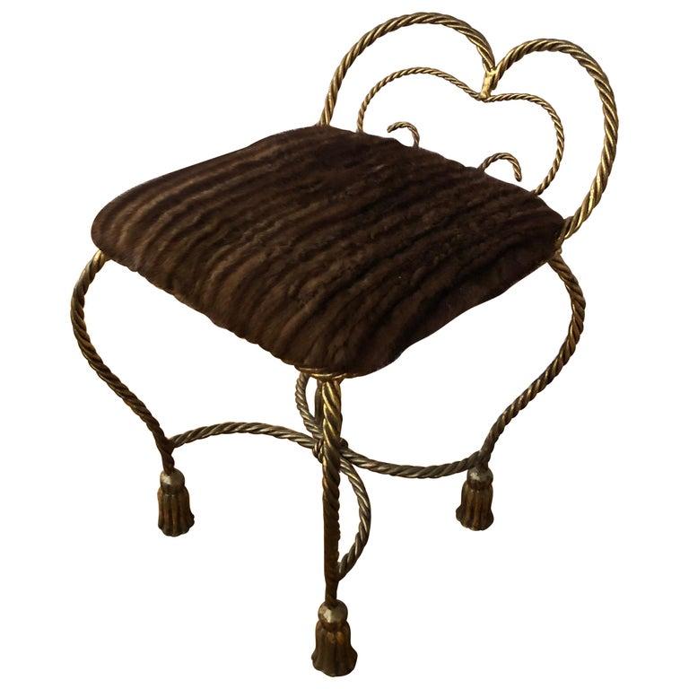 Glamorous Italian Giltiron Tassel Motife Stool or Bench with Mink Upholstery For Sale