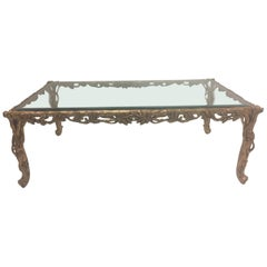 Glamorous Italian Hand Carved Gilded Wood Coffee Table