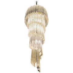 Glamorous Italian Midcentury Five-Tier Spiral Murano Glass Prism Chandelier